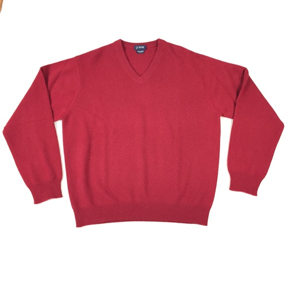 Jcrew Mens Red V Neck 100 2ply Cashmere Sweater